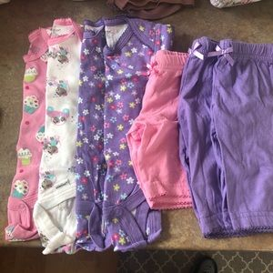 0-3 months baby girl onesies and pants